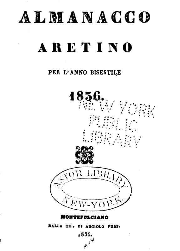 Almanacco Aretino 1836