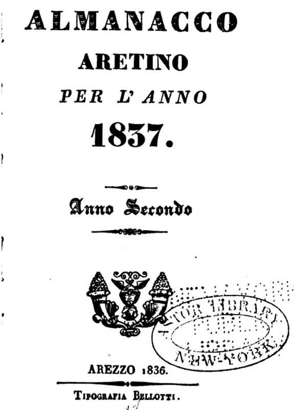 Almanacco Aretino 1837
