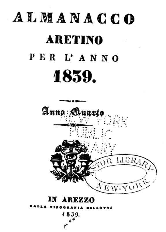 Almanacco Aretino 1839
