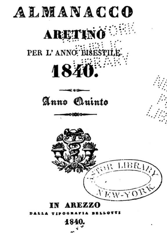 Almanacco Aretino 1840