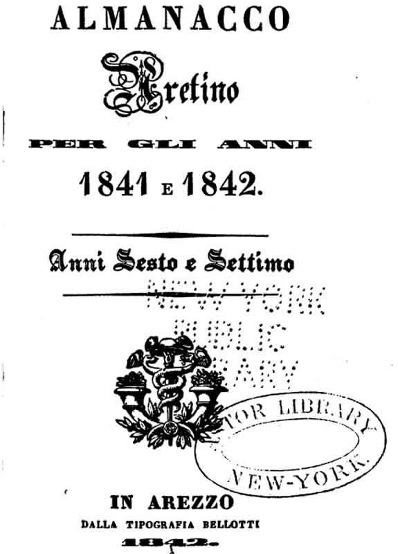 Almanacco Aretino 1841 - 1842