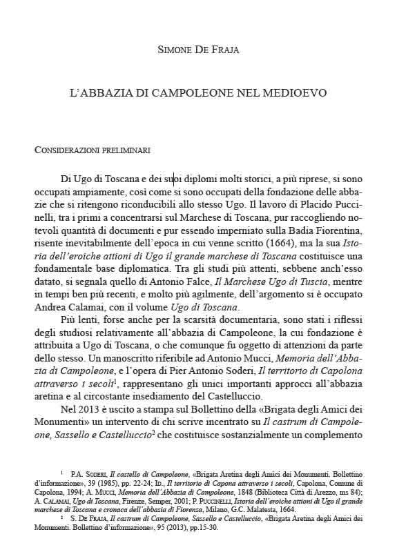 Annali Aretini XXV 2017 Abbazia Campoleone - De Fraia
