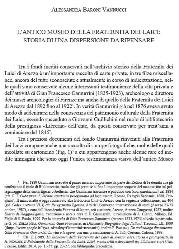 Annali Aretini XXV 2017 Antico Museo Fraternita - Alessandra Baroni