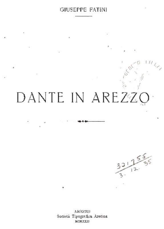 Dante in Arezzo - G. Fatini - 1922