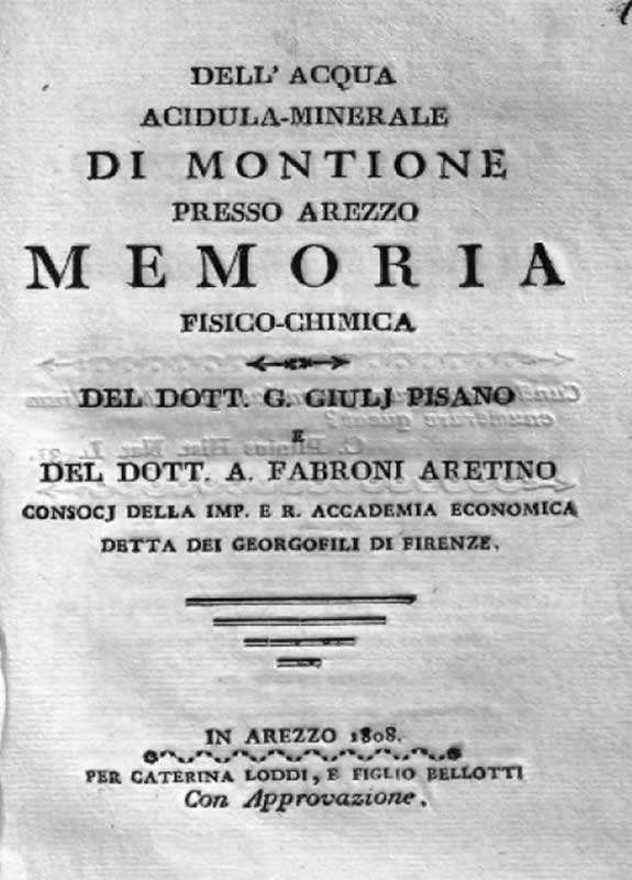 Dell'acqua acidula-minerale di Montione presso Arezzo - A. Fabroni