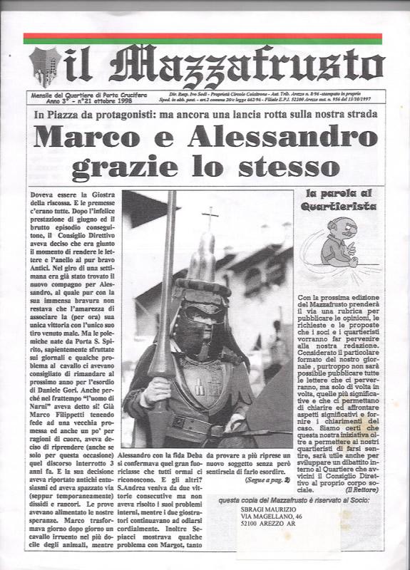 IL MAZZAFRUSTO - Anno 03 - n. 21 - ottobre 1998
