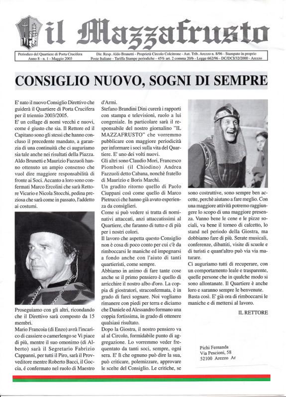 IL MAZZAFRUSTO - Anno 08 - n. 01 - maggio 2003