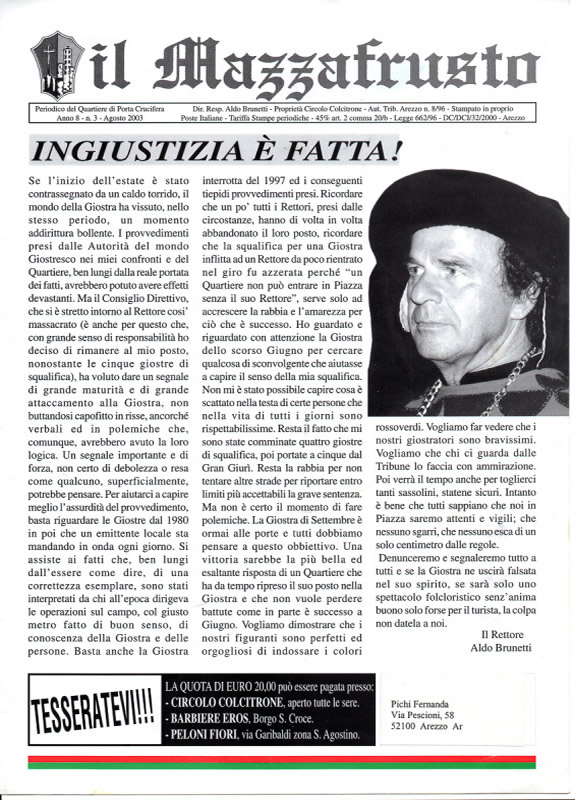 IL MAZZAFRUSTO - Anno 08 - n. 03 - agosto 2003