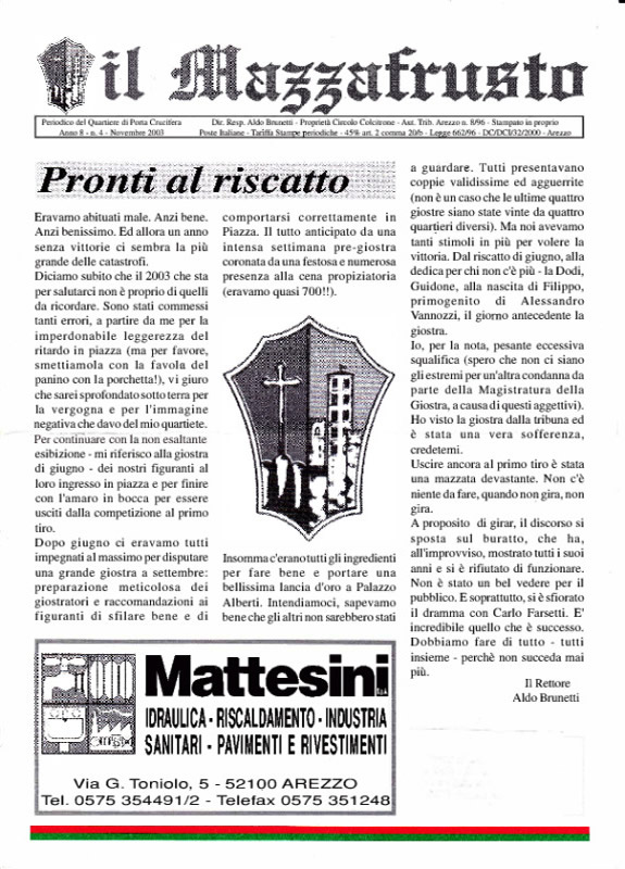 IL MAZZAFRUSTO - Anno 08 - n. 04 - novembre 2003