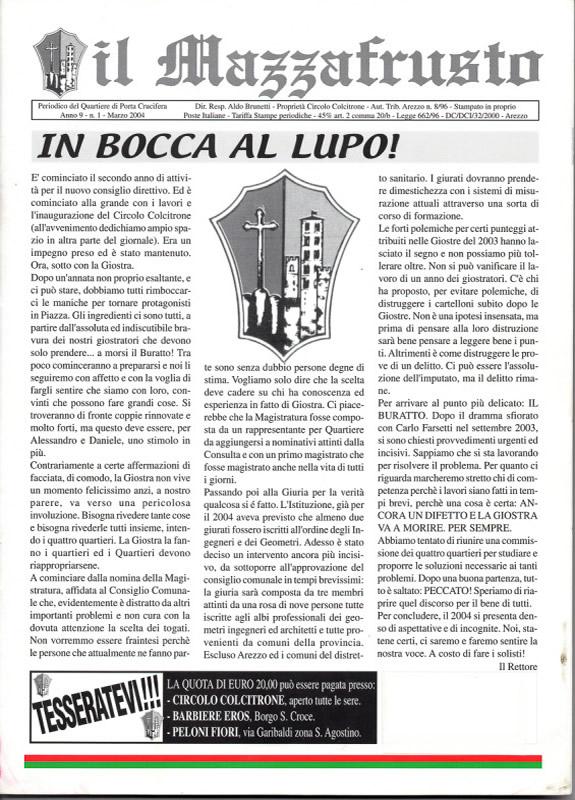 IL MAZZAFRUSTO - Anno 09 - n. 01 - marzo 2004