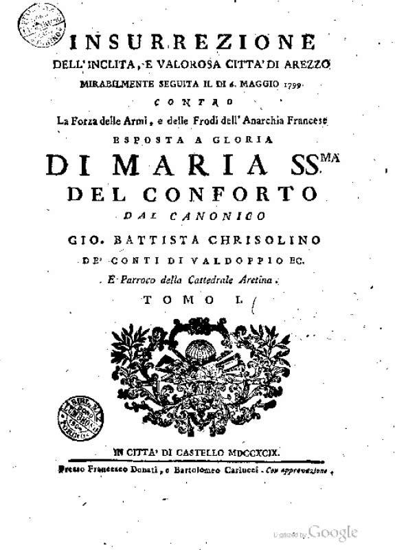 Insurrezione dell'inclita e valorosa citta di Arezzo