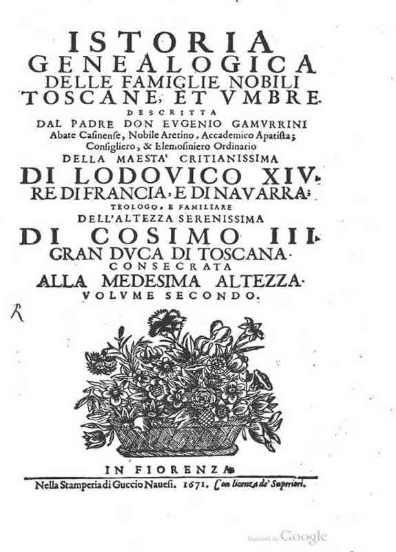 Istoria genealogica delle famiglie nobili Toscane e Umbre - vol. 2 - 1671 - E. Gamurrini