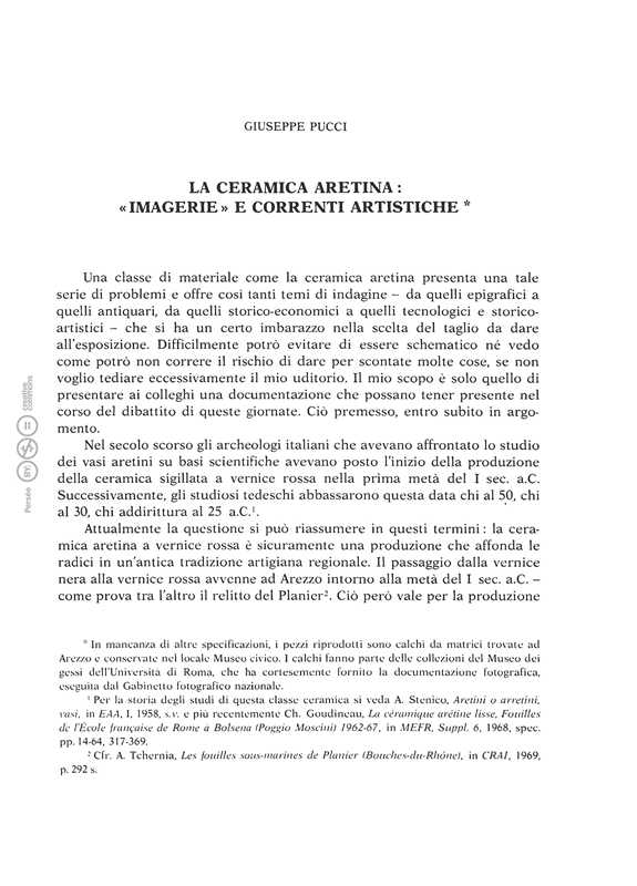 La ceramica aretina imagerie e correnti artistiche - G. Pucci