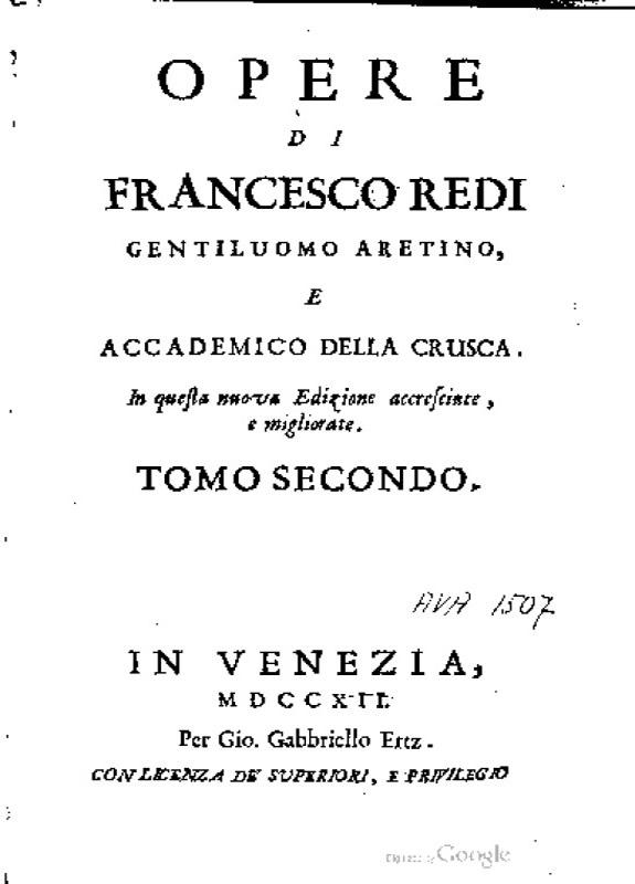 Opere di Francesco Redi gentiluomo aretino