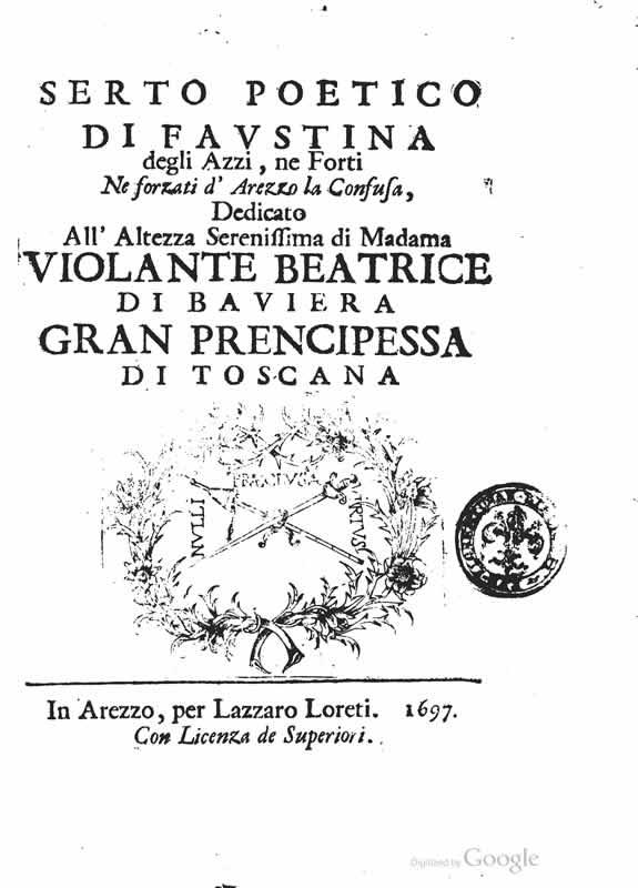Serto poetico di Faustina degli Azzi ne Forti
